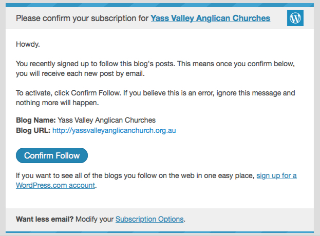 Subscribe confirmation at Yass Valley Anglican Churches