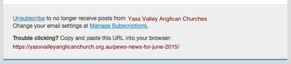 Unsubscribe from Yass Valley Anglican News and Updates